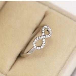 Infinity Women 925 Silver Rings White Sapphire